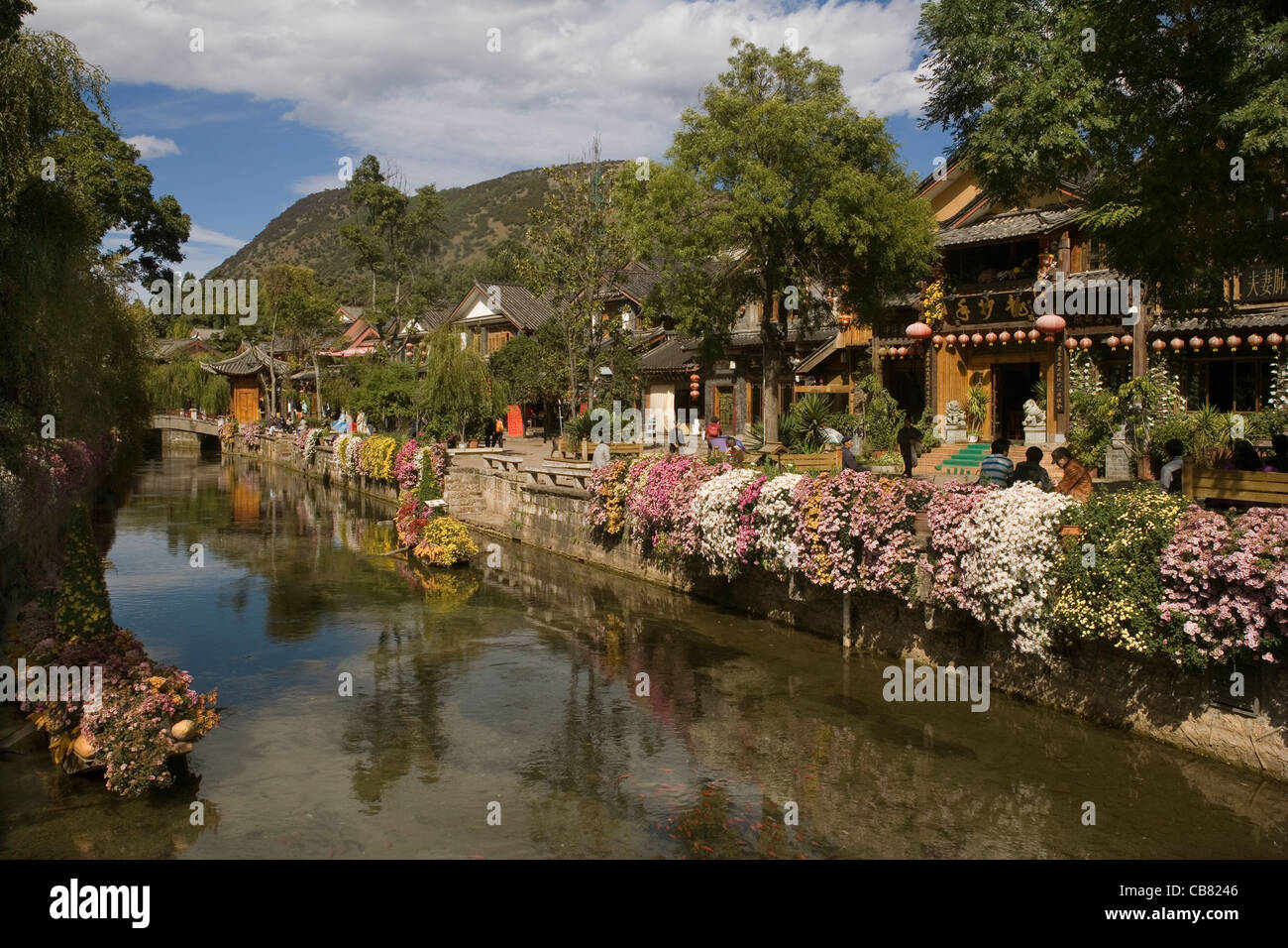 China Yunnan Lijiang, shops, river & flowers - Stock Image