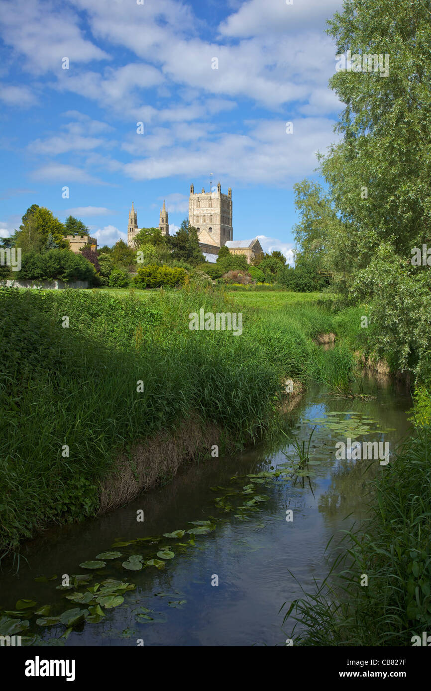 Abbey of the Blessed Virgin Mary, Tewkesbury, Gloucestershire,  England, UK, United Kingdom, GB, Great Britain, - Stock Image