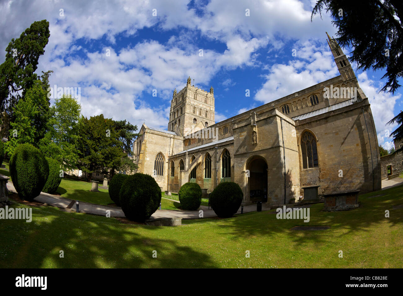 Abbey of the Blessed Virgin Mary, exterior Tewkesbury, Gloucestershire,  England, UK, United Kingdom, GB, Great - Stock Image
