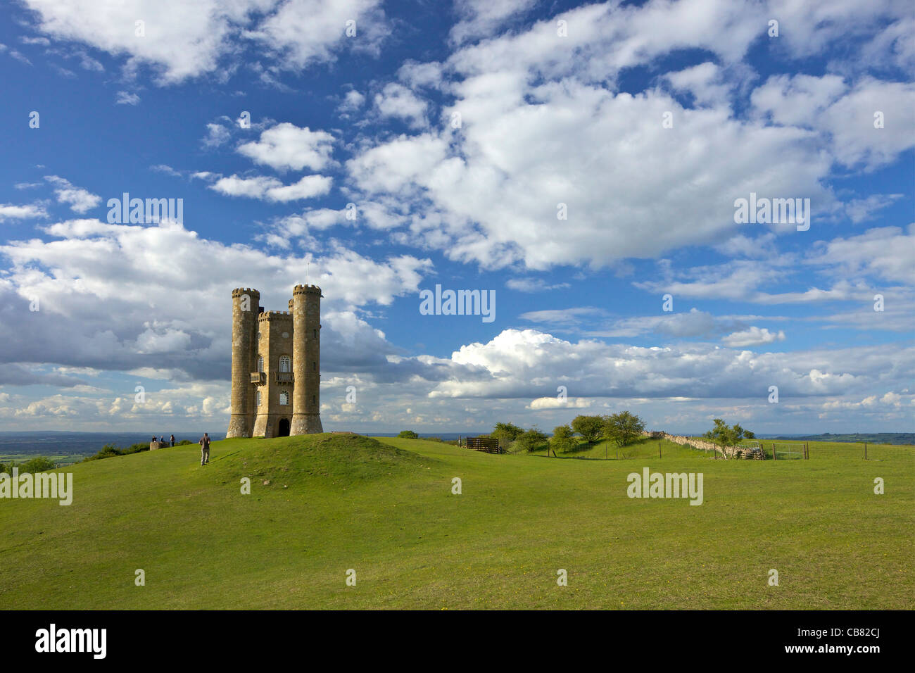 Broadway Tower in evening spring sunshine, Worcestershire, Cotswolds, England, UK, United Kingdom, GB, Great Britain Stock Photo