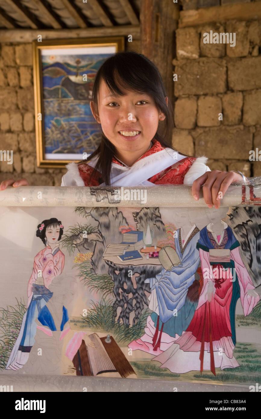China Yunnan Lijiang Baisha embroidery school - Stock Image