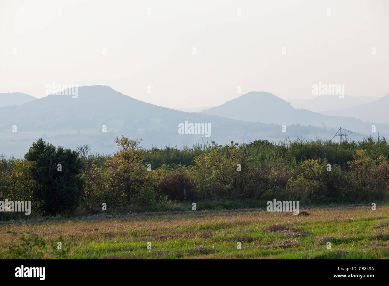 Landscape of Bohemian Central Mountains, Ceske Stredohori, near Litomerice in northern Bohemia, Czech Republic. - Stock Image