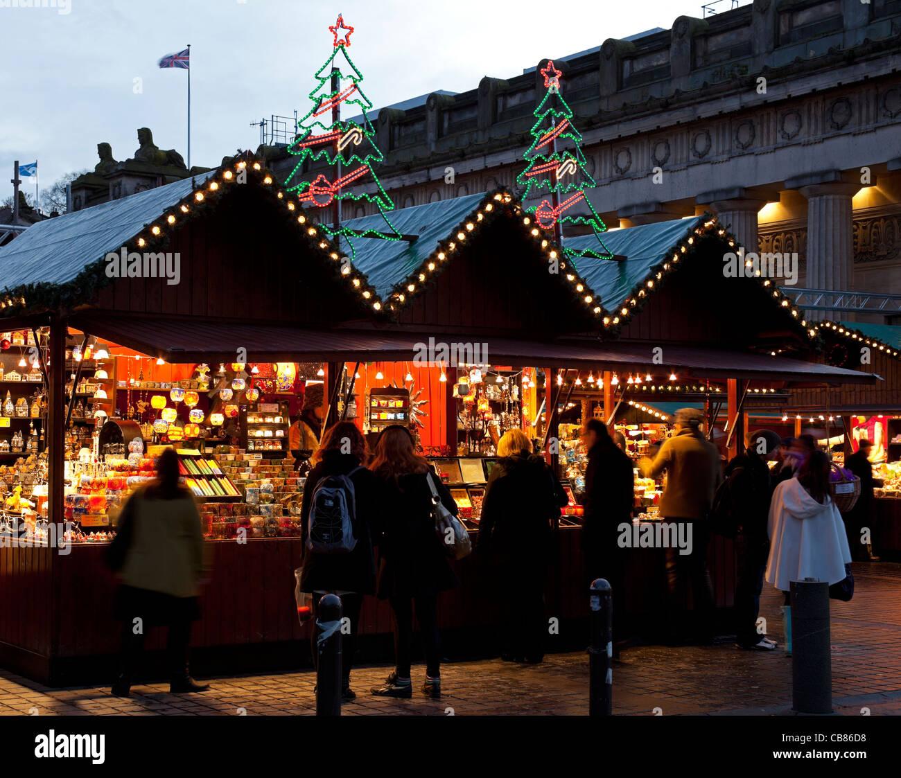 Edinburgh Christmas traditional German Market The Mound,  Scotland UK Europe - Stock Image