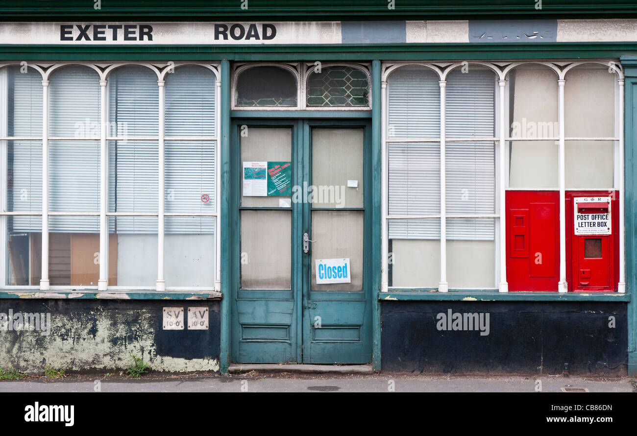 Old post Office closed under UK Government cuts in 2009, Crediton, Devon, England - Stock Image