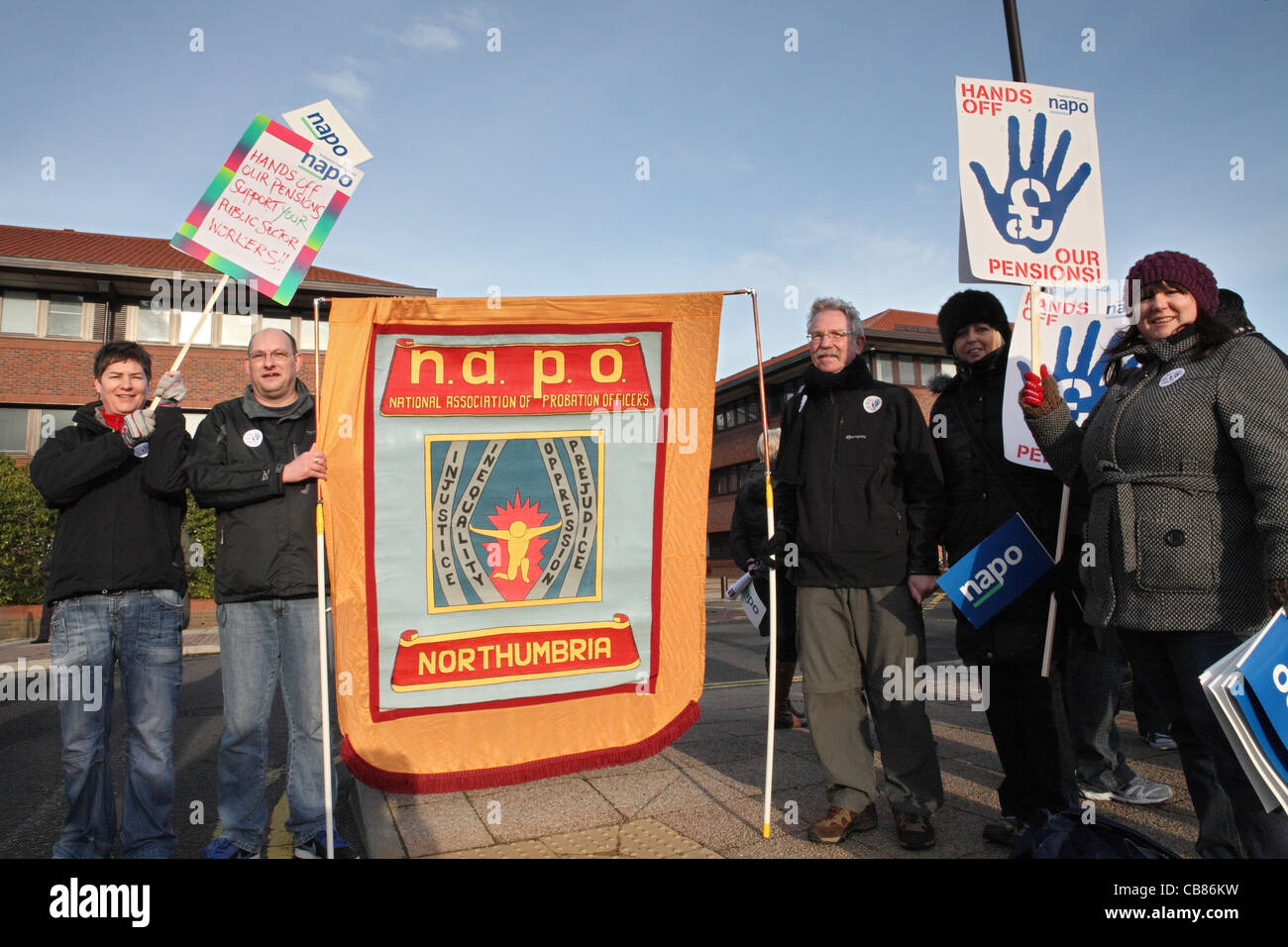 Members of the NAPO trades union with banners and placards, TUC day of action Gateshead, north east England, UK - Stock Image