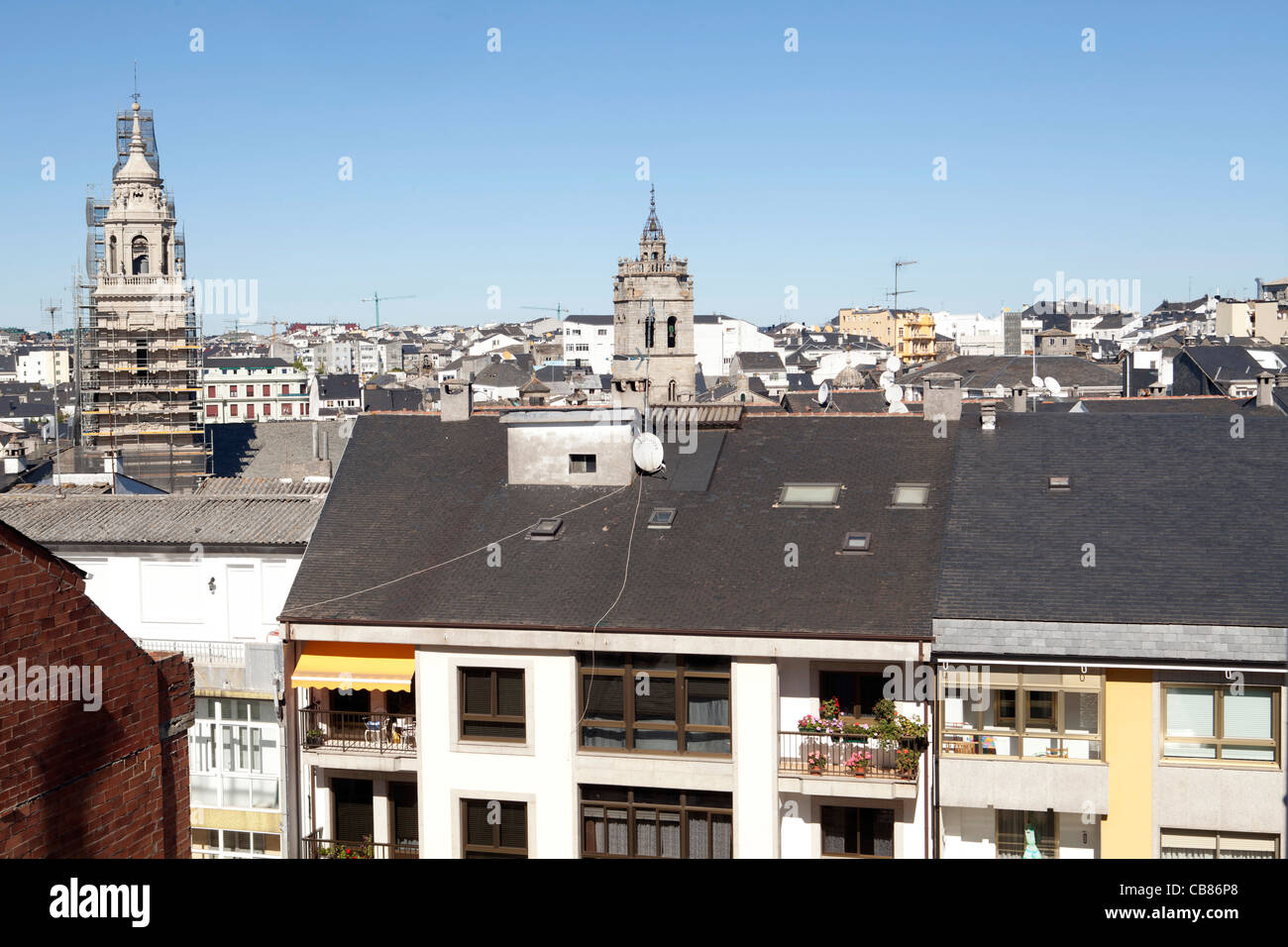 Lugo Galicia Spain city urban country turism nord monument ciudad urbano cathedral roofs - Stock Image