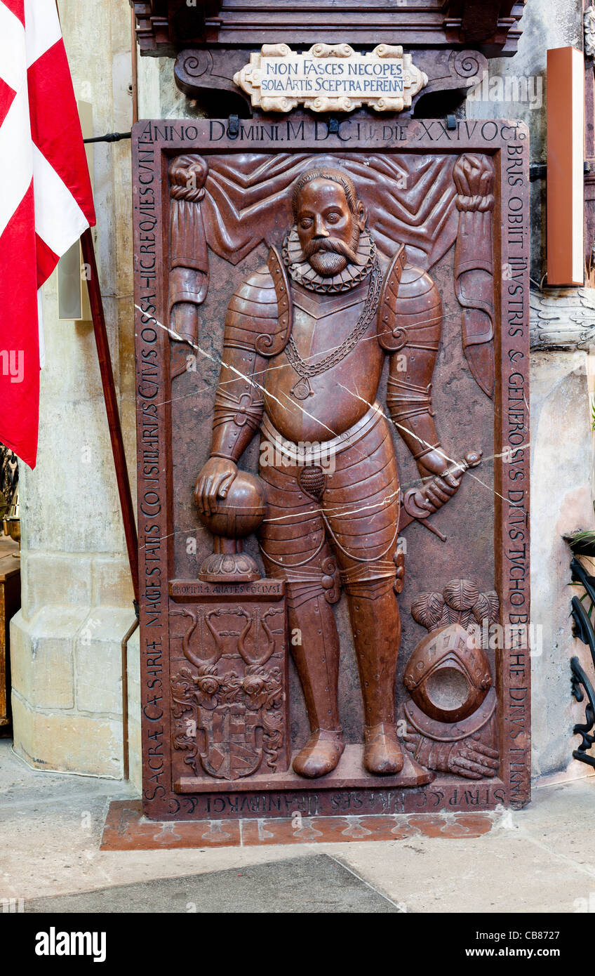 The grave of famous Danish astronomer Tycho Brahe inside the Tyn Church (The Church of Our Lady Before Tyn) at the - Stock Image