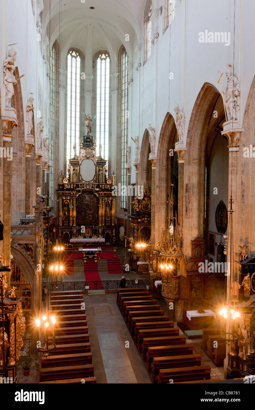 Interior of the Tyn Church  (The Church of Our Lady Before Tyn) in Prague where remains of famous Danish astronomer - Stock Image