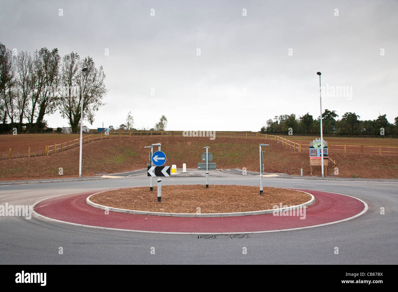 New roundabout in a road, Devon, England - Stock Image