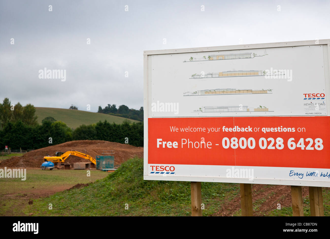 Tesco sign welcoming feedback on a new store development, Devon, England - Stock Image