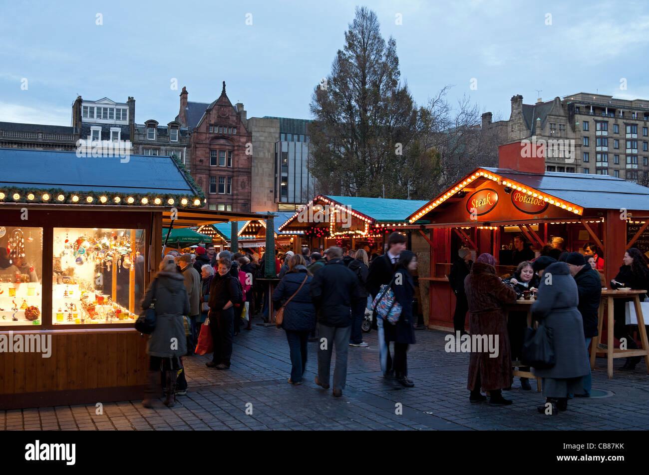edinburgh christmas traditional german market the mound scotland uk europe stock image