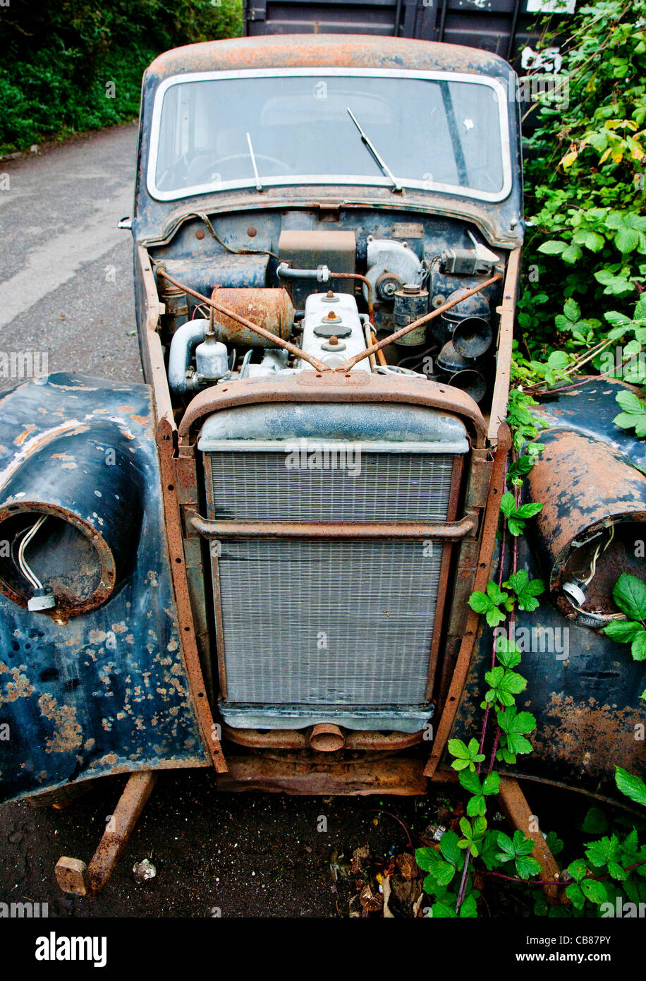 Old wrecked rusting motor car becoming overgrown with weeds - Stock Image