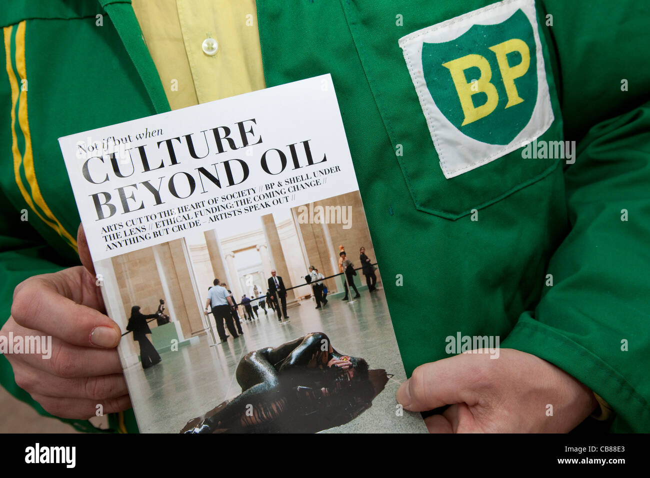 Culture Beyond Oil: publication about opposition to arts sponsorship by oil companies like BP - Stock Image