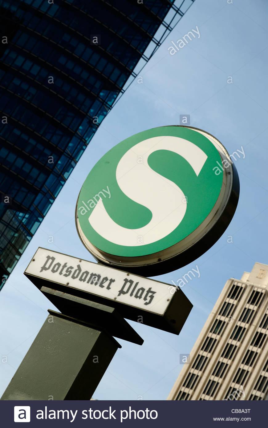 S-Bahn station sign of Potsdamer Platz in Berlin Stock Photo