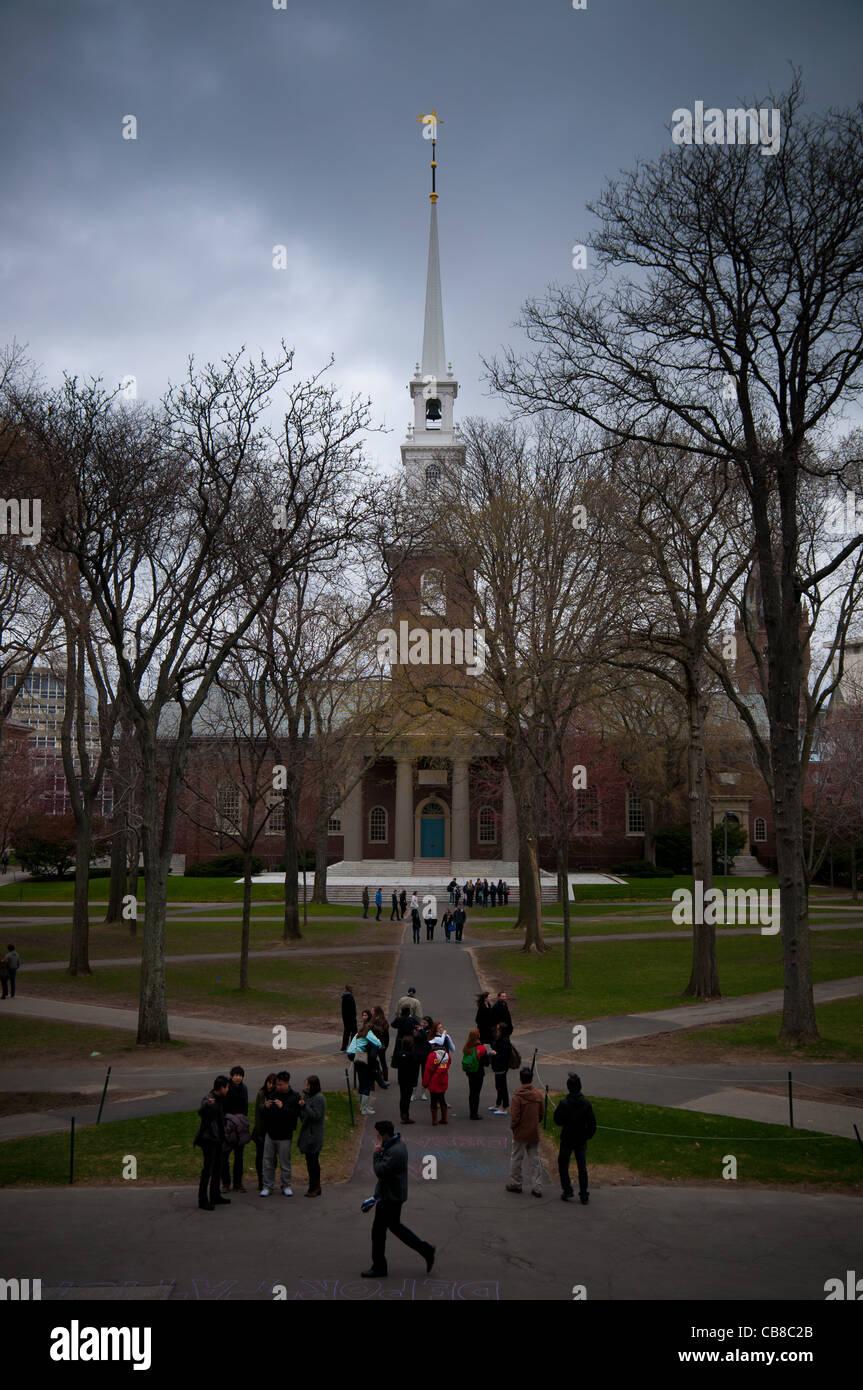 Harvard Memorial Church and Harvard University yard in Cambridge, MA Stock Photo