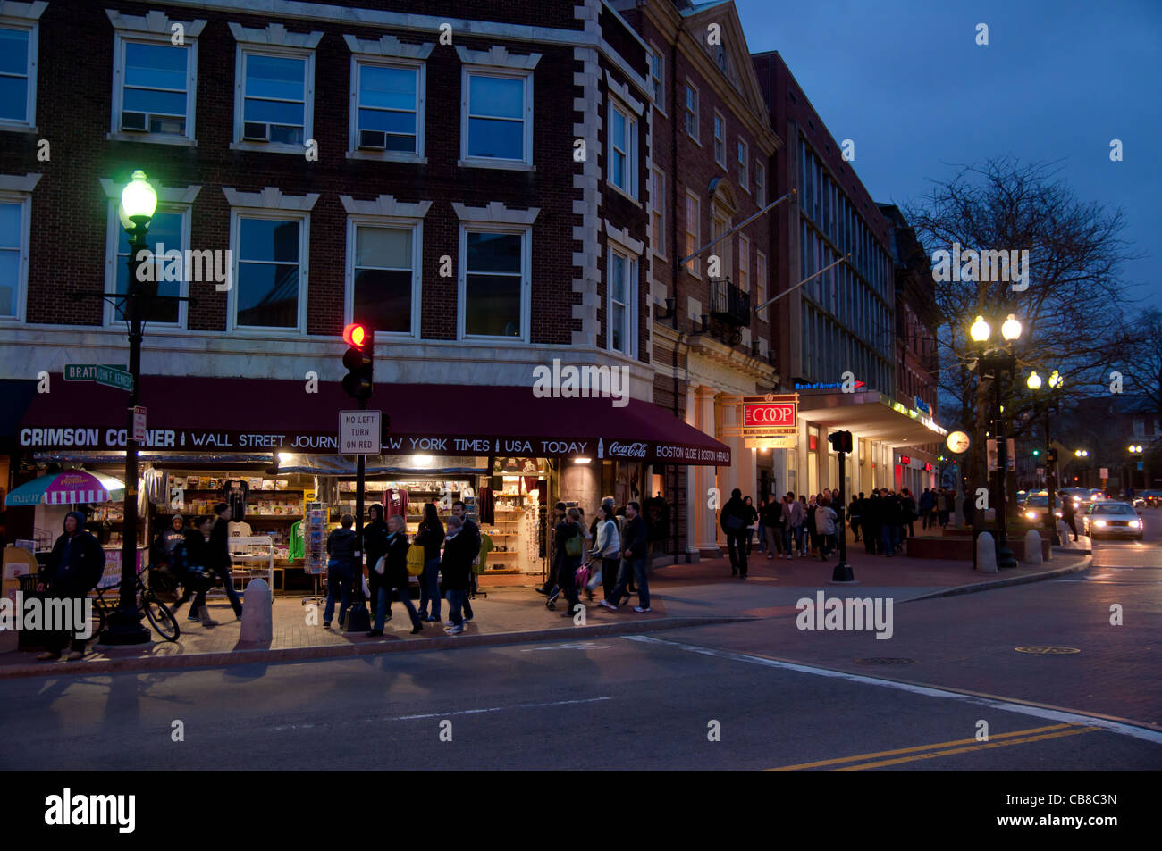 Intersection on Harvard Square with student bookshops and restaurants in Cambridge, MA Stock Photo