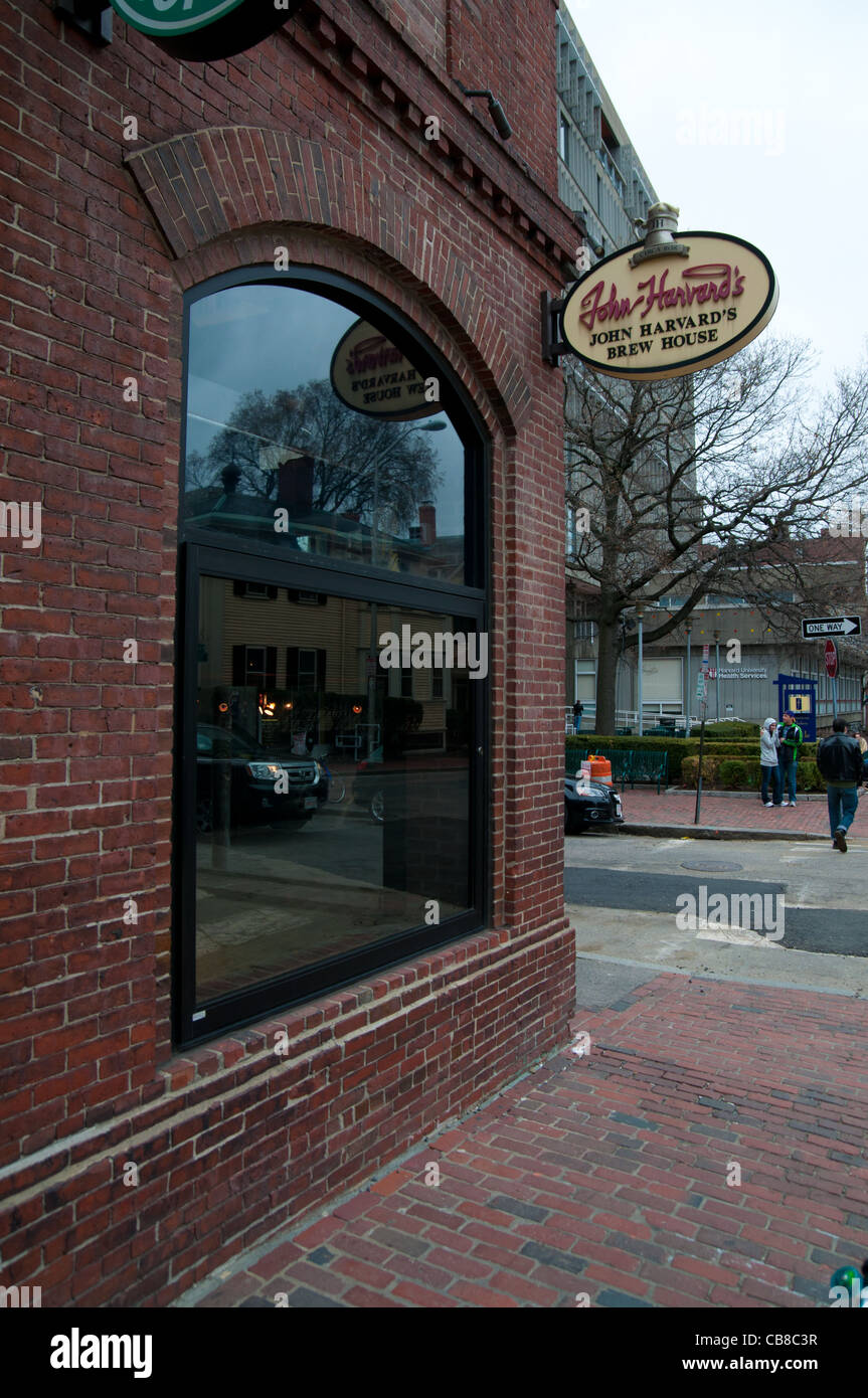John Harvard's Brew House window in Boston, MA - Stock Image
