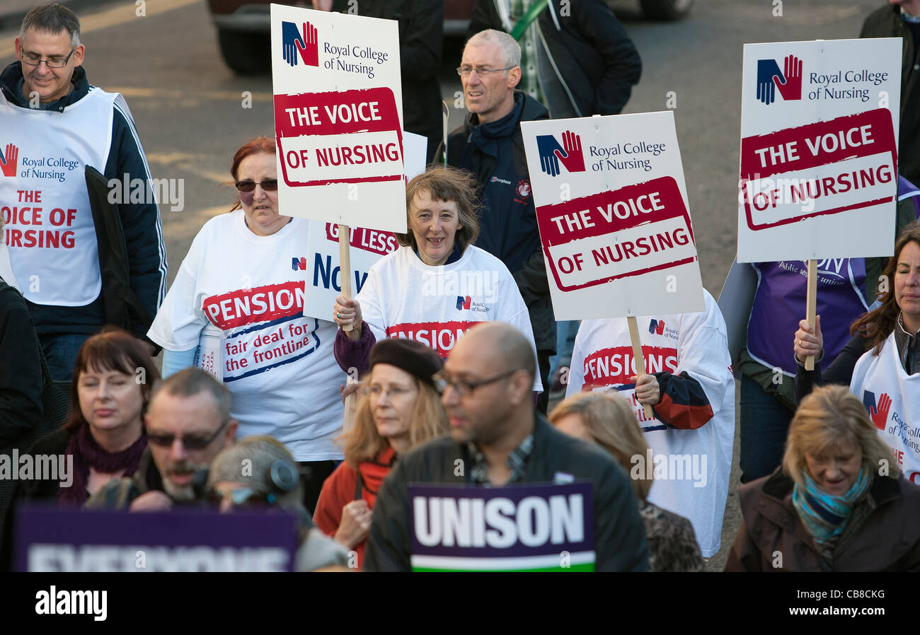 Royal college of nursing members and other Public Sector workers on Strike are pictured taking part in a protest - Stock Image