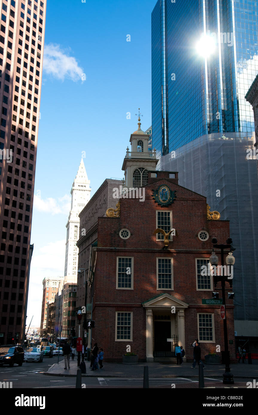 Old State House with skyscraper behind in Boston, MA Stock Photo
