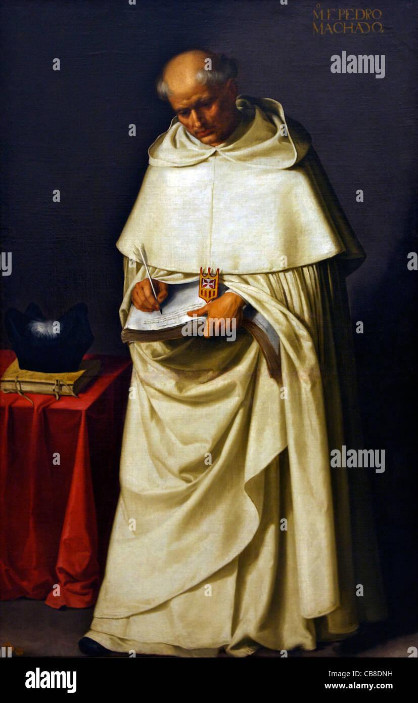 Friar Pedro Machado, by Francisco de Zurbaran, circa 1630, Museo de la Real Academia de Bellas Artes de, Royal Academy - Stock Image