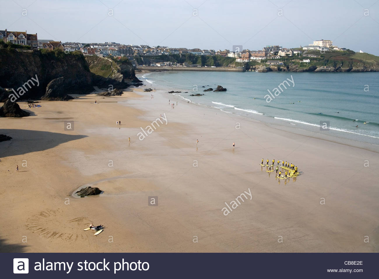 surf school at newquay on the north cornish coast - Stock Image