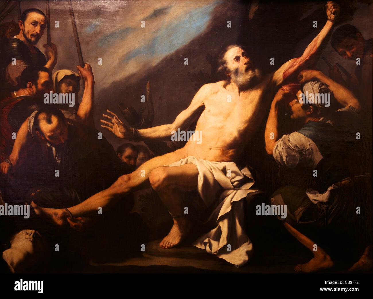 Martyrdom of Saint Bartholomew, by Jose de Ribera, Royal Academy of, San Fernando, Madrid, Spain, Europe, EU - Stock Image