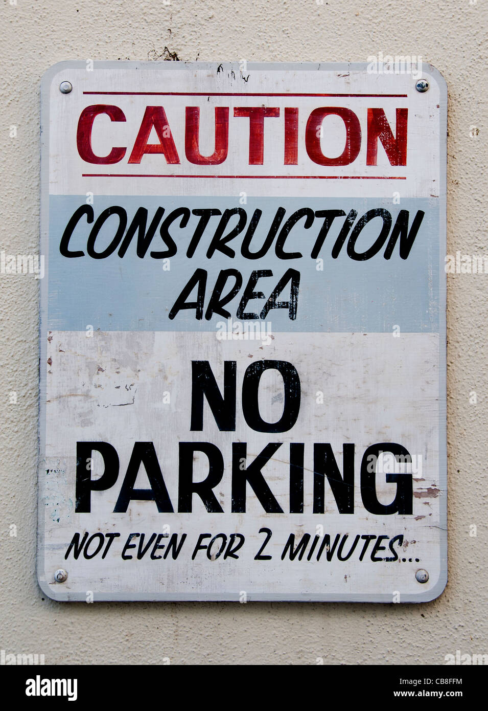 Caution Construction Area No Parking not even for 2 minutes Santa Barbara California United States - Stock Image