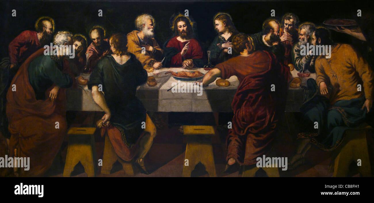 Last Supper by Jacopo Robusti Il Tintoretto Museo de la Real Academia de Bellas Artes de Royal Academy of San Fernando - Stock Image