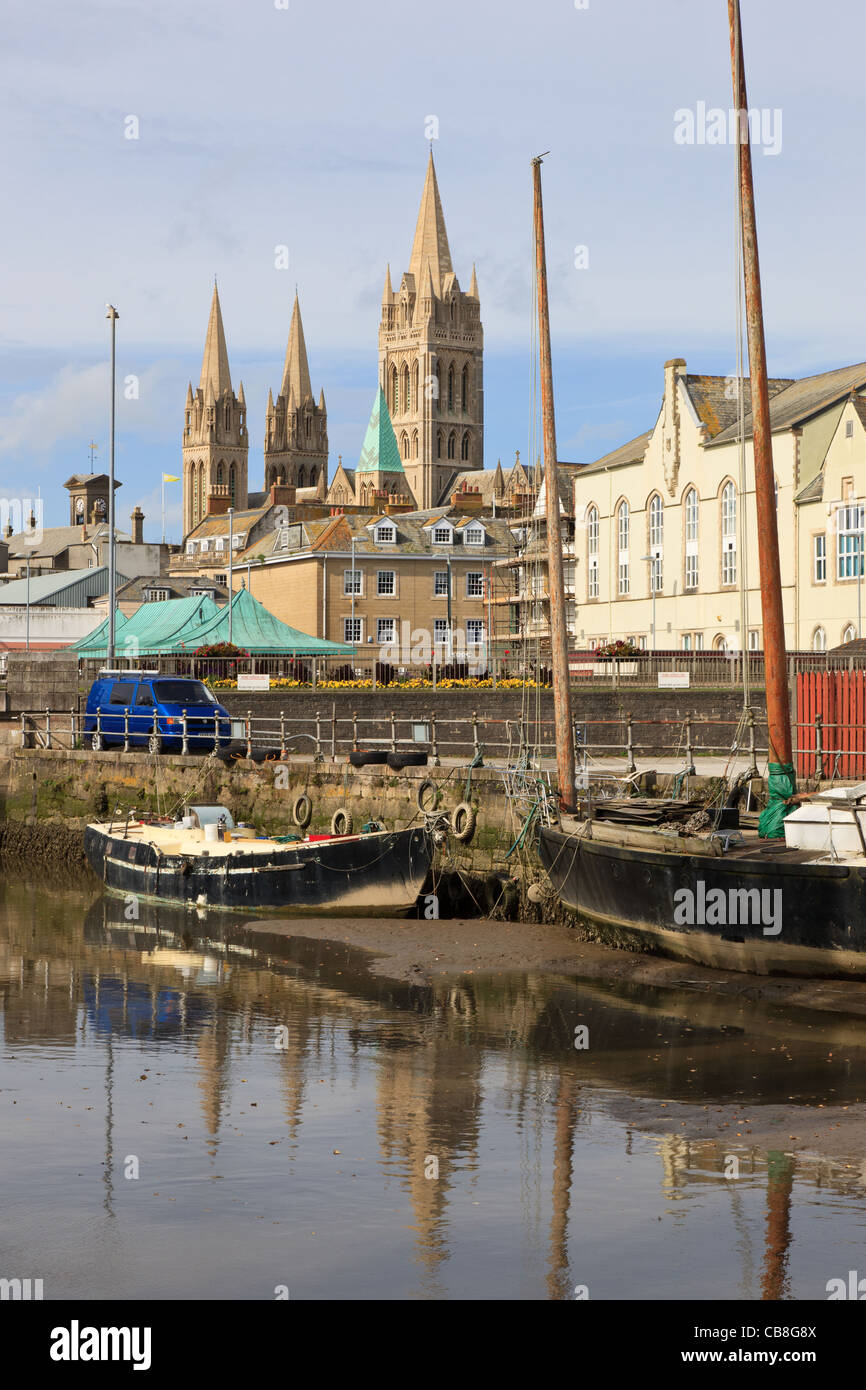 Truro, Cornwall, England, UK, Britain. View across tidal River Truro towards the city and three spires of the Cathedral - Stock Image