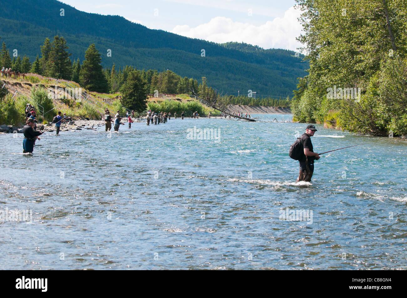 people fly fishing for sockeye salmon in the kenai river alaska