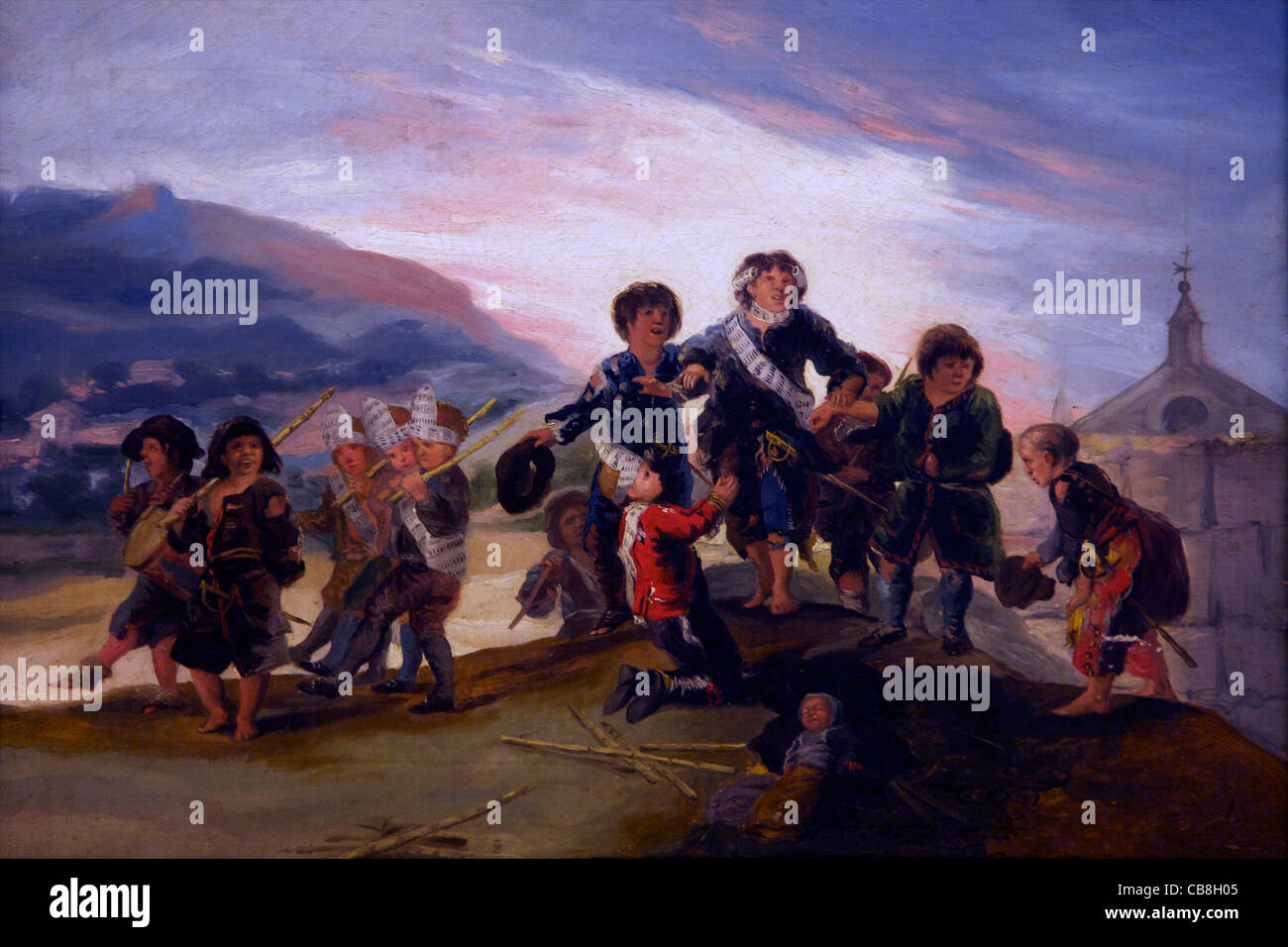 Boys Playing at Soldiers by Francisco de Goya y Lucientes, 1776-1786, Royal Academy of San Fernando Madrid Spain - Stock Image