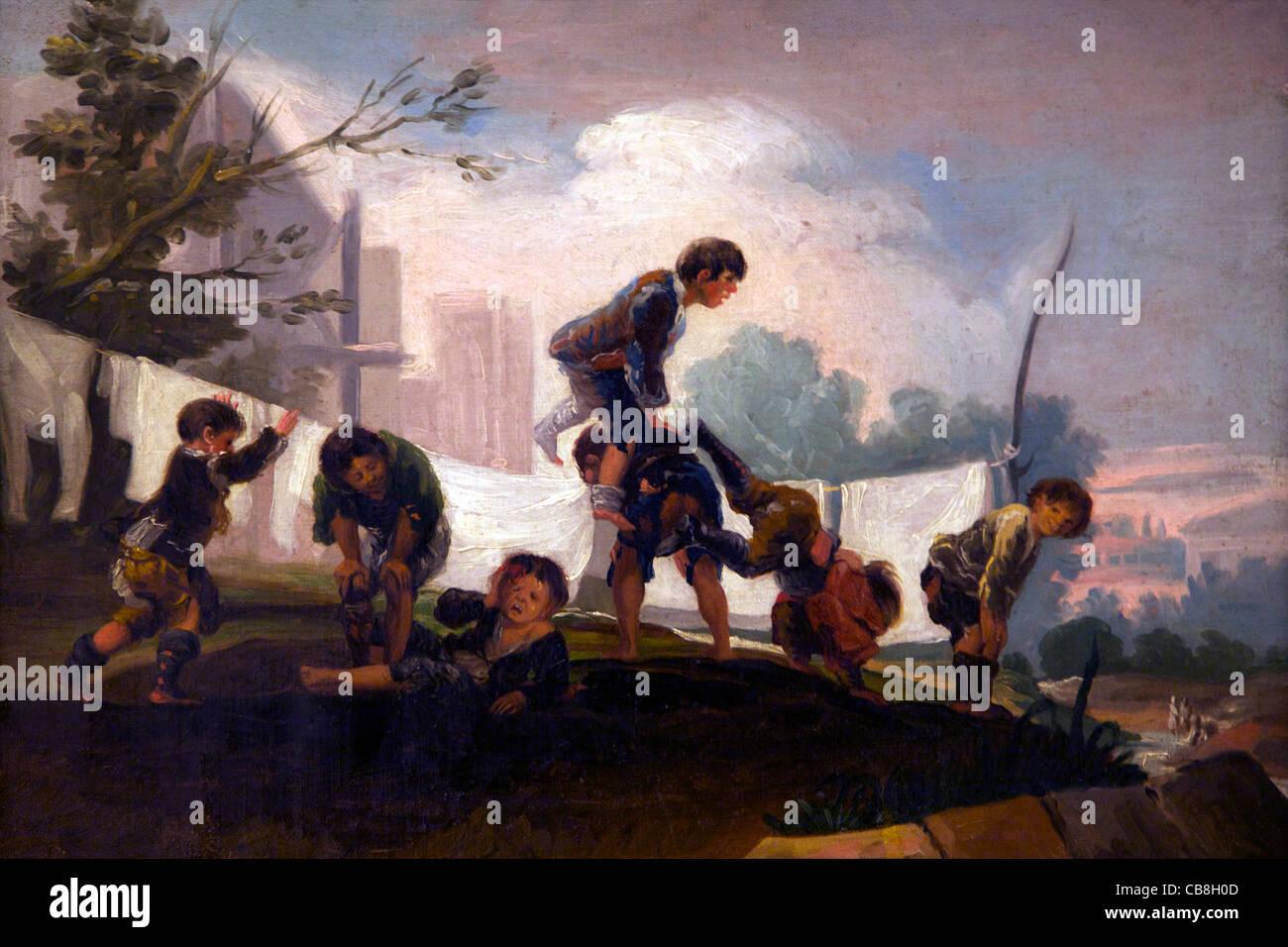 Children jumping, by Francisco de Goya y Lucientes, Royal Academy of San Fernando Madrid Spain - Stock Image