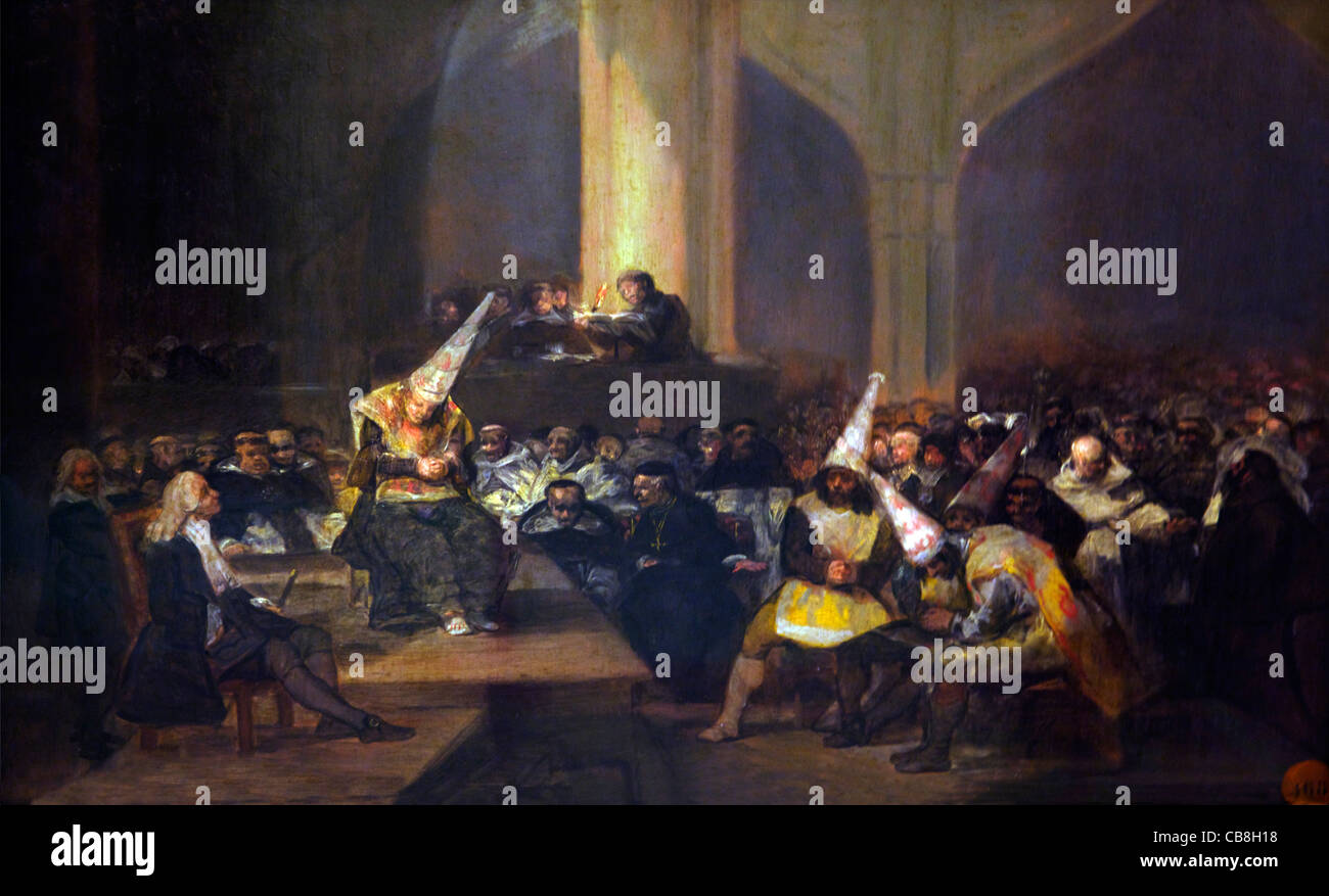Scene of the Inquisition, by Francisco de Goya y Lucientes, circa 1814-1816, Royal Academy of Fine Arts Madrid Spain - Stock Image