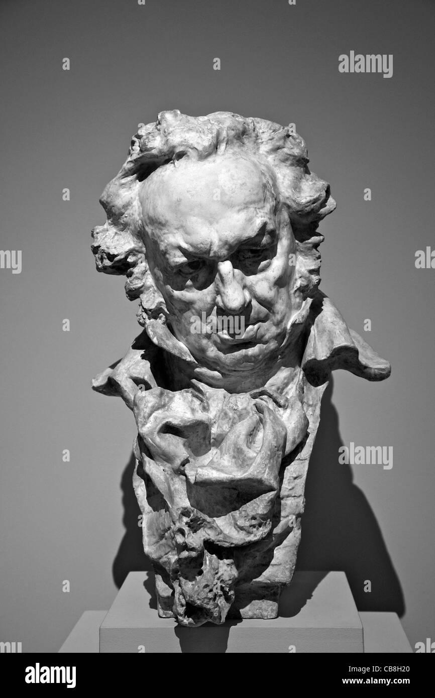 Bust of Goya, by Mariano Benlliure, Royal Academy of Fine Arts of San Fernando, Madrid Spain - Stock Image