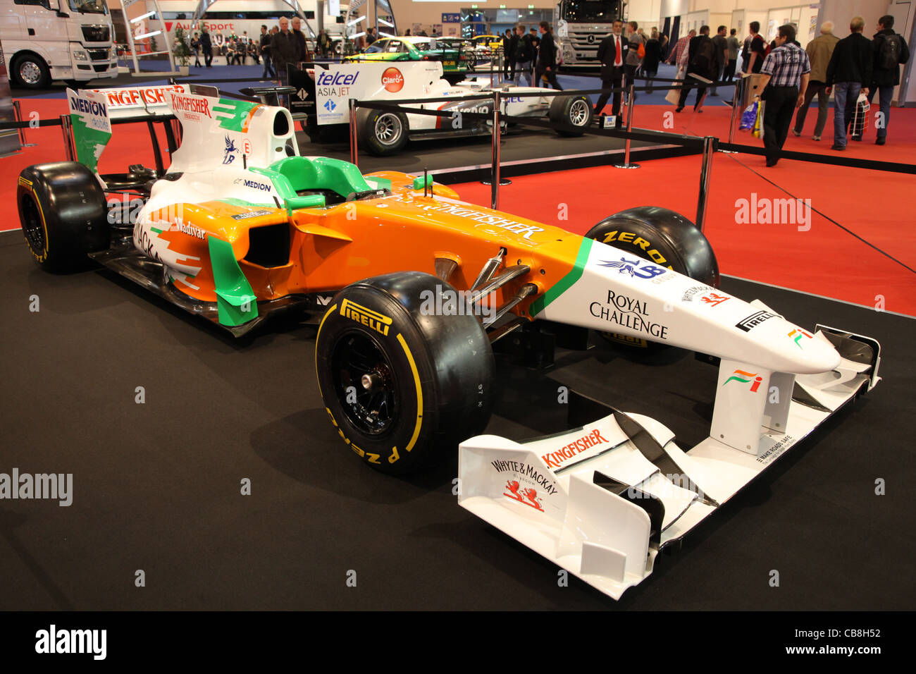 Force India VJM 04 Formula 1 racing car shown at the Essen Motor Show in Essen, Germany, on November 29, 2011 - Stock Image
