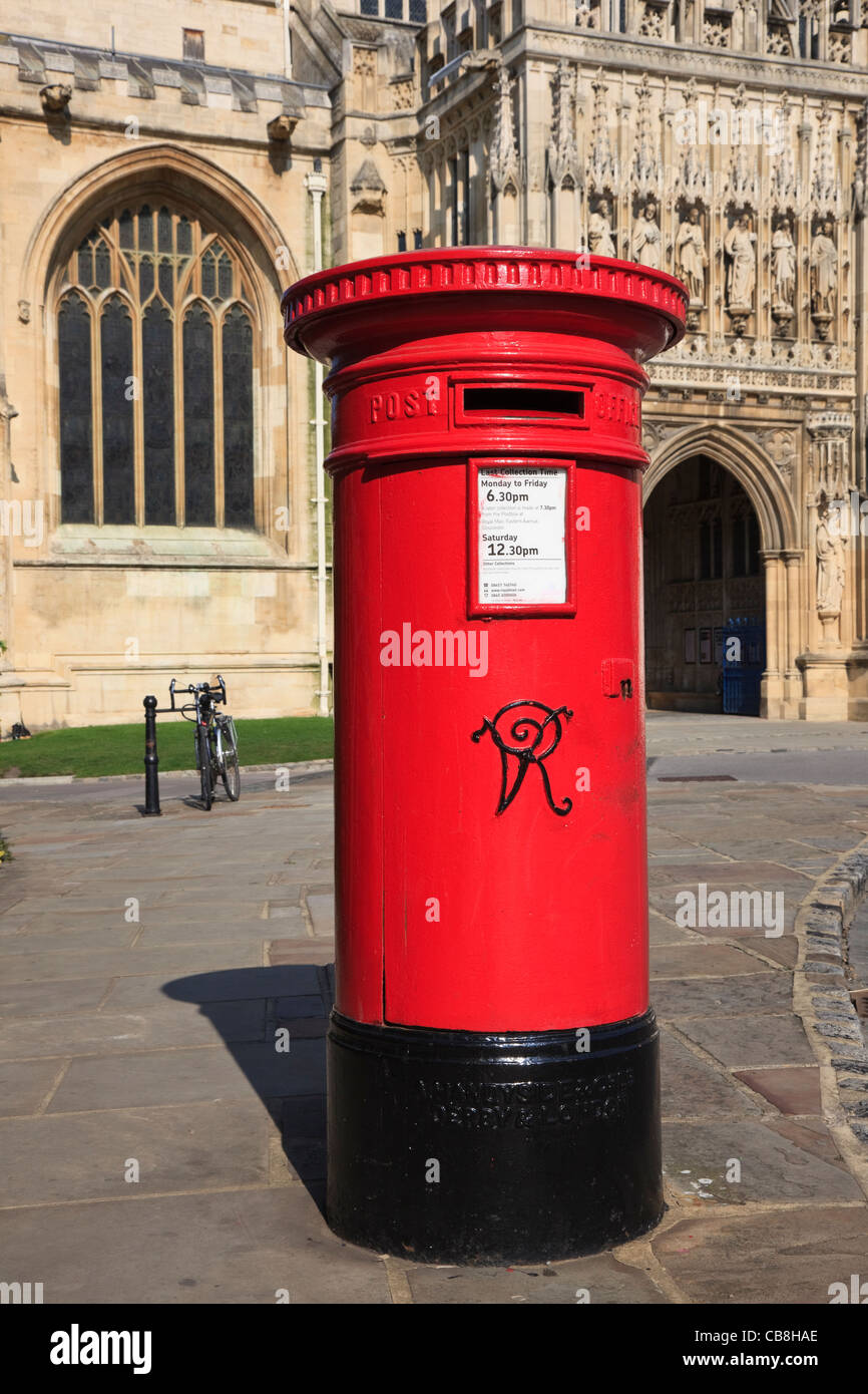 Victorian red postbox outside the cathedral entrance. Gloucester Gloucestershire England UK Britain - Stock Image
