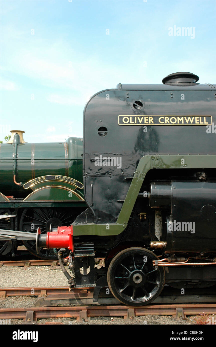 Preserved Britannia class steam locomotive No. 70013 Oliver Cromwell with Clun Castle behind, England, UK - Stock Image