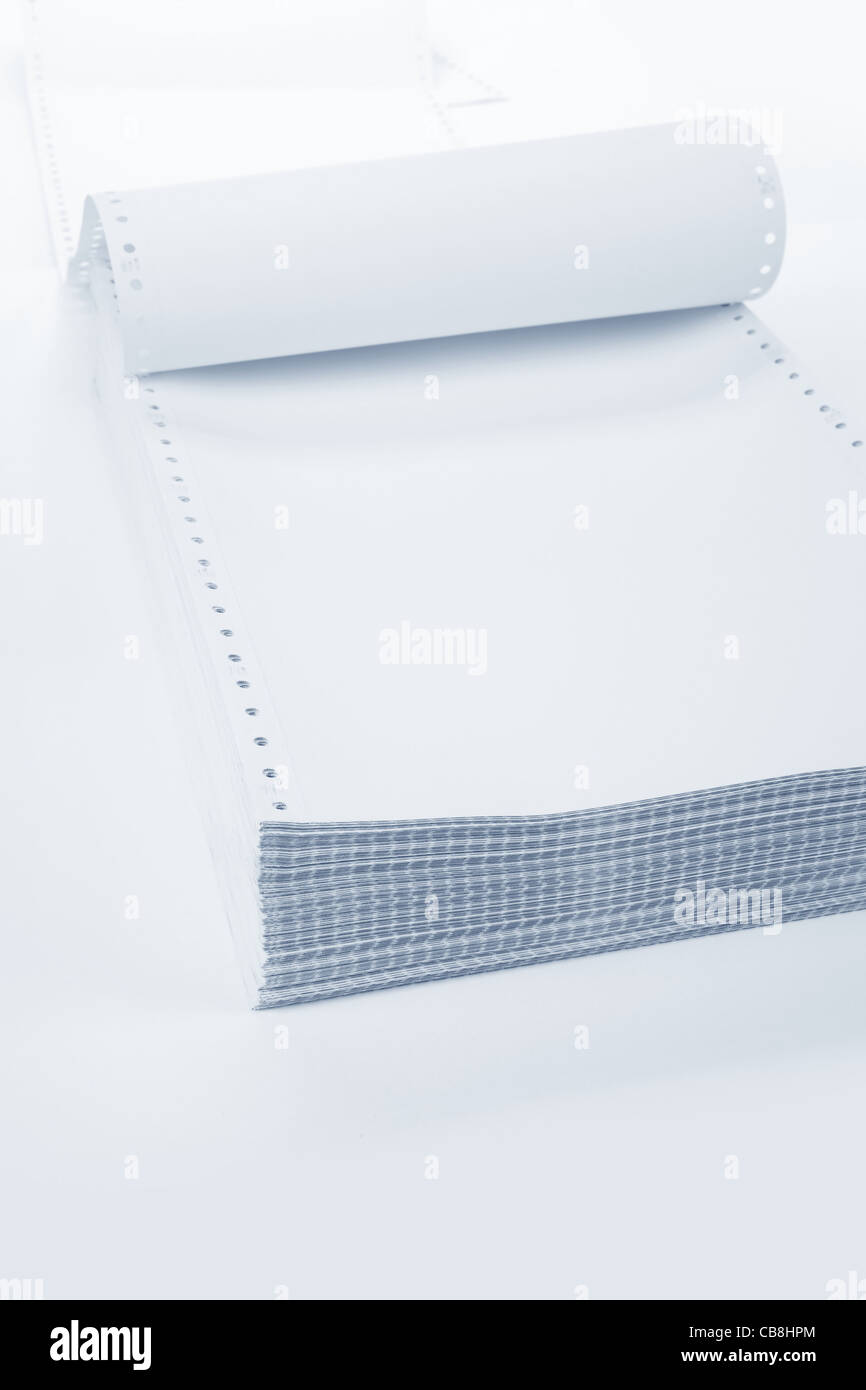 Perforated Computer Paper for background - Stock Image
