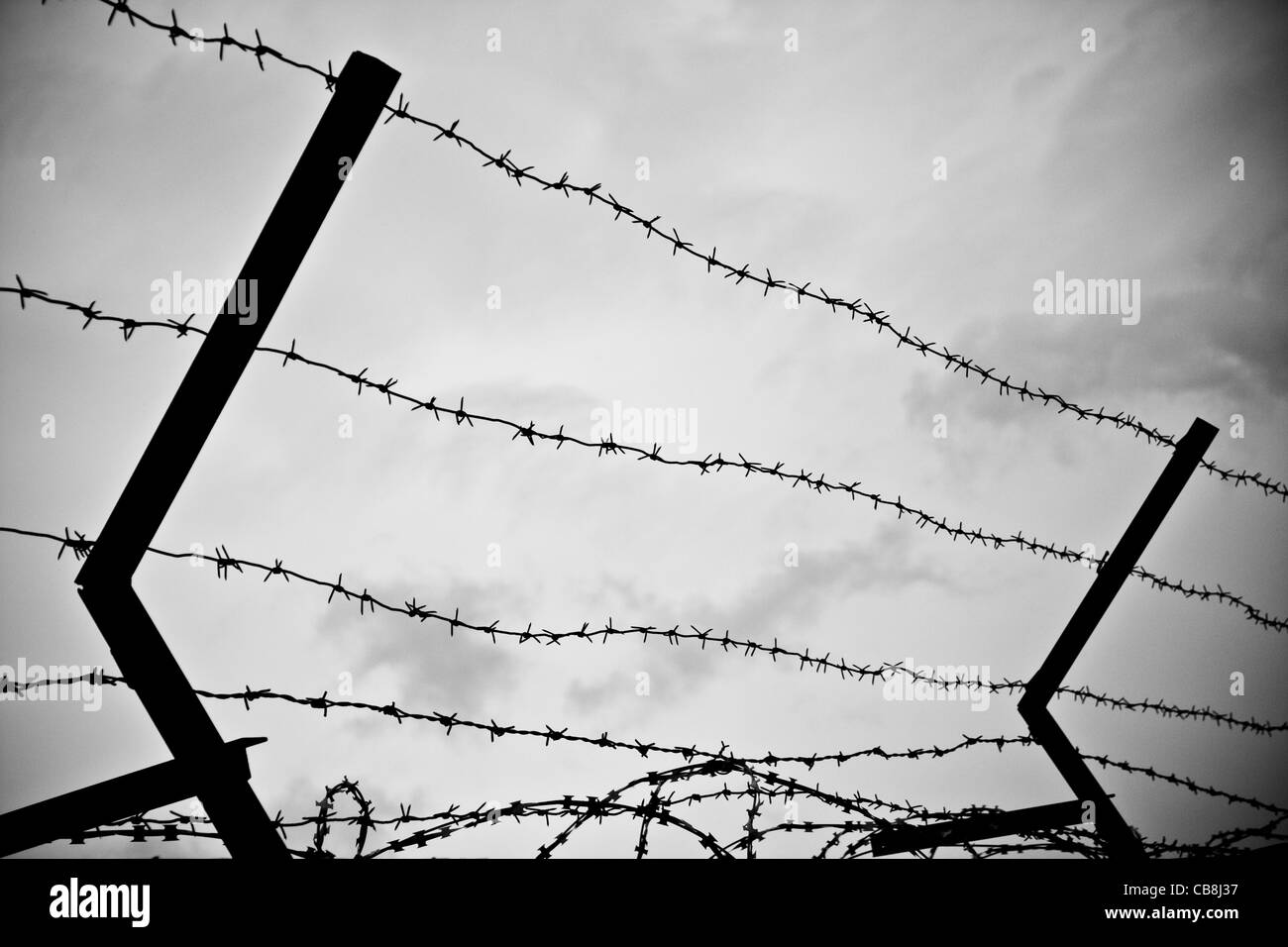photo of old rusty barbed wire against sky - Stock Image