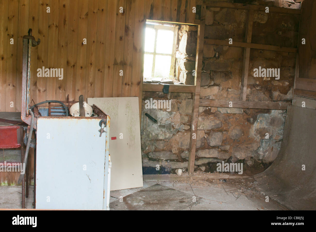 Building, Croft House, Abandoned, Ruin, Interior - Stock Image