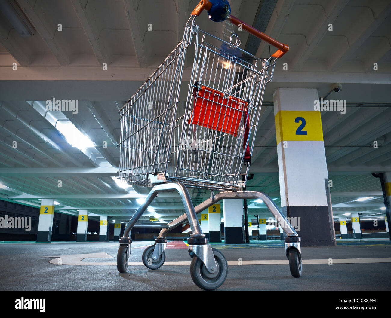 Shopping Centre Carpark supermarket trolley in quiet empty shopping mall car park Stock Photo