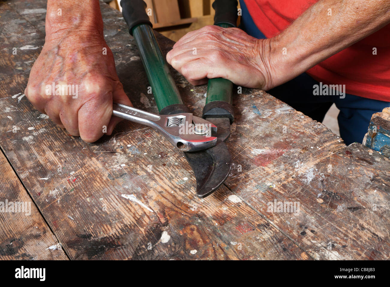Using adjustable spanner to alter friction on a garden tool - Stock Image