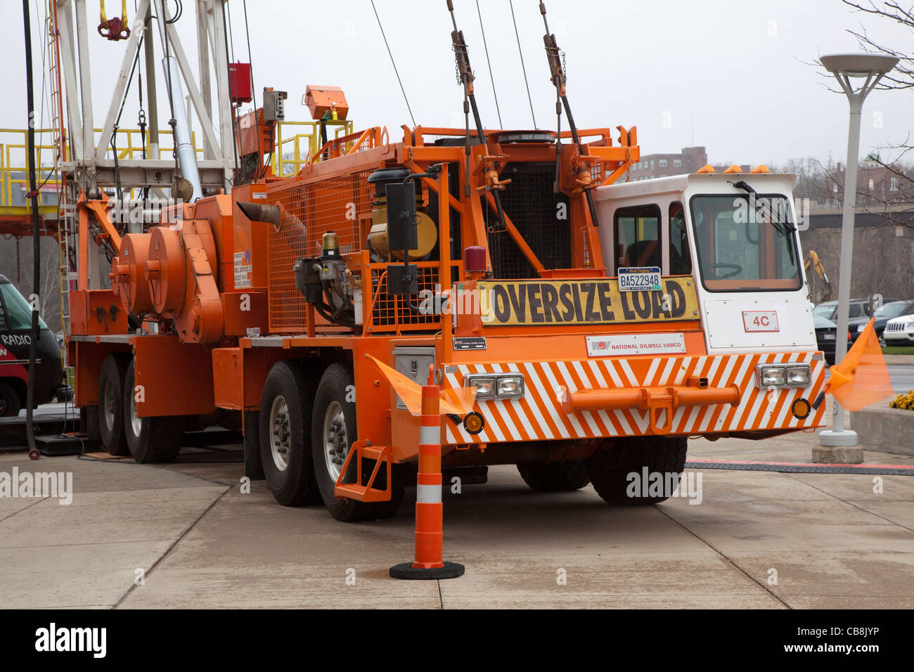 Drill Rig Outside Trade Show for Natural Gas Drilling - Stock Image