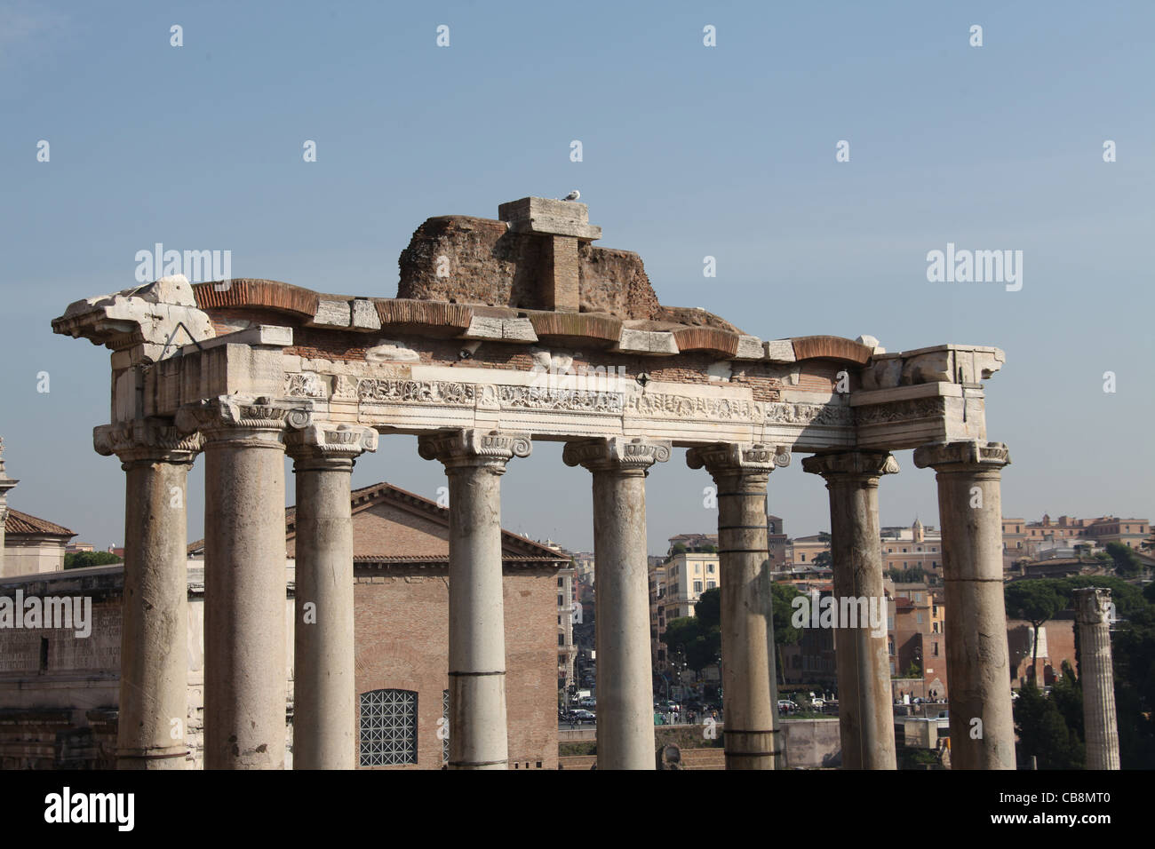 Temple of Saturn in Rome - Stock Image