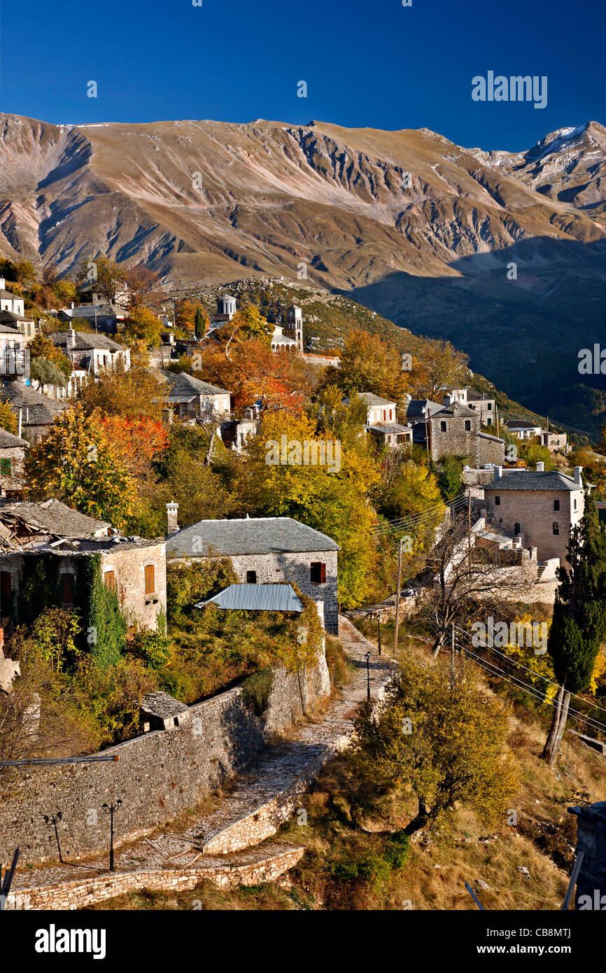 Kalarrytes village, one of the most beautiful Greek mountainous villages, on Tzoumerka mountains, Ioannina, Epirus, - Stock Image