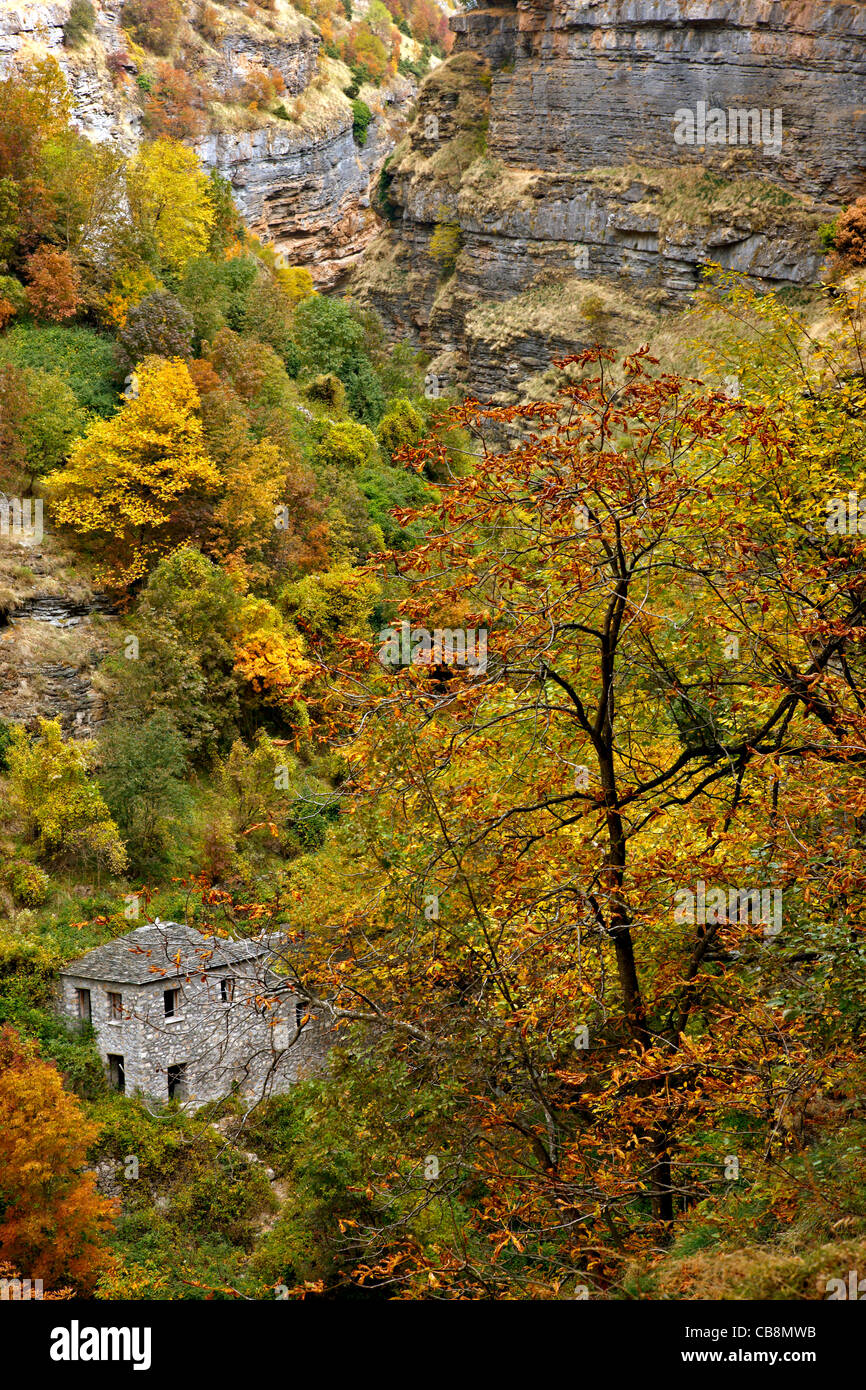 An old watermill, in the canyon of Chrousias river, that separates Syrrako and Kalarrytes villages, Tzoumerka, Ioannina, - Stock Image