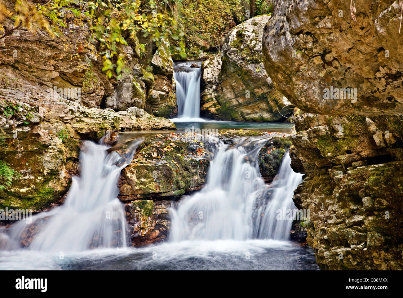 Small waterfalls, in the canyon of Chrousias river, that separates Syrrako and Kalarrytes villages, Tzoumerka, Ioannina, - Stock Image