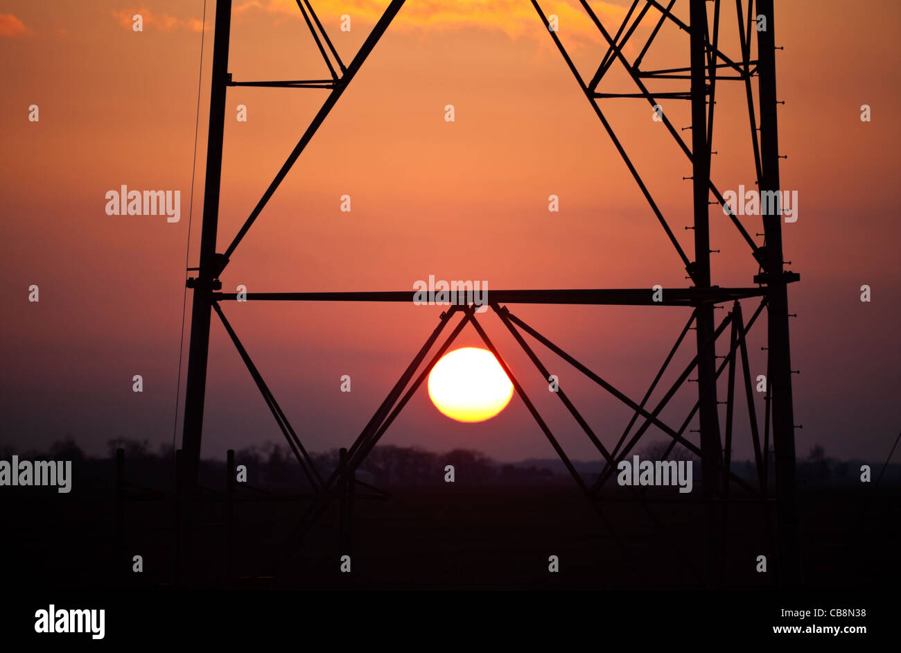 Sunset and the Self support Cell Tower Stock Photo: 41374124