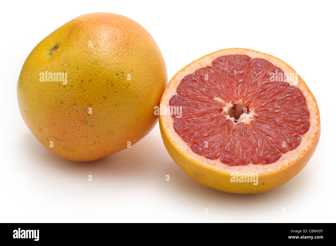 Grapefruit Whole and Half, Pink - Stock Image