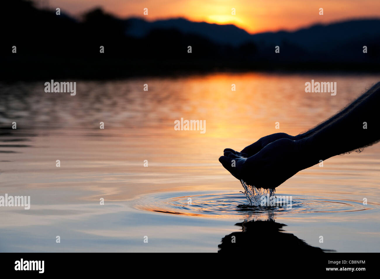 Cupped hands scooping up water in a still lake at sunrise in India. Silhouette - Stock Image
